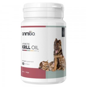 Krill Oil - Soft Gel Capsule Omega 3 Wellness Supplement for Cats & Dogs - Animigo