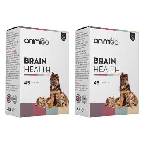 Brain Health - Tillskott som Stöder Hundar och Katters Kognitiva Förmåga - Animigo - 45 Tabletter -