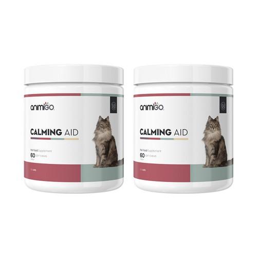 Calming Aid för Katt - Lugnande Kosttillskott för Stressad Katt - Animigo - 60 tabletter - 2-pack