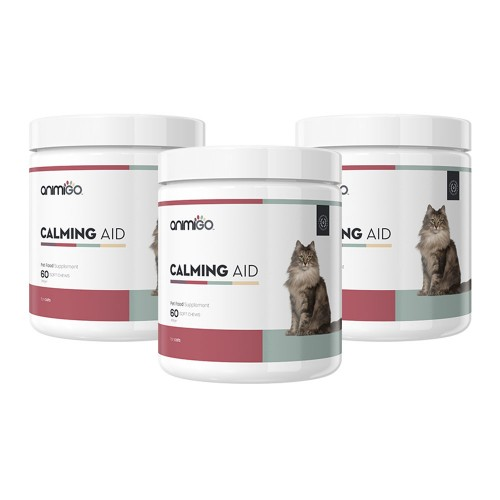 Calming Aid för Katt - Lugnande Kosttillskott för Stressad Katt - Animigo - 60 tabletter - 3-pack