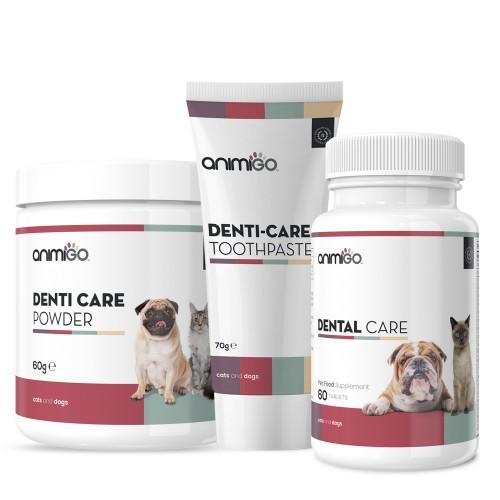 Dental Bundle - Natural Dental Care Pack For Pets - Idealisk för frisk andning - Inkluderar tandkräm, pulver och tablettillskott - Animigo