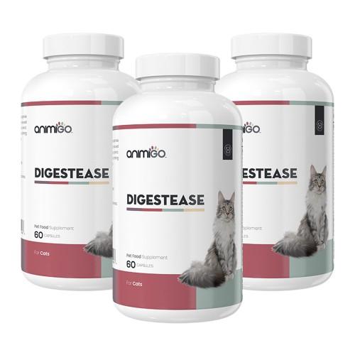 Digestease för Katt - Tillskott för Matsmältningen med Probiotika & Prebiotika - 60 Kapslar - 3 Pack