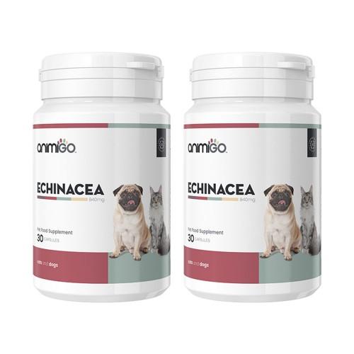 Echinacea för Hund och Katt - Tillskott som Stärker Immunförsvar - Animigo - 30 kapslar - 2-pack