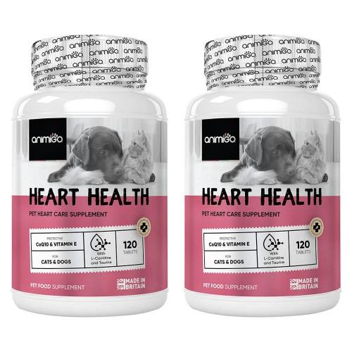 Heart Health för Hjärtat - Kosttillskott för Hjärtat för Hund och Katt - Animigo - 240 tabletter - 2 Pack