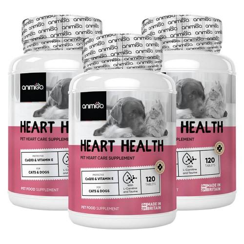 Heart Health för Hjärtat - Kosttillskott för Hjärtat för Hund och Katt - Animigo - 360 tabletter - 3 Pack