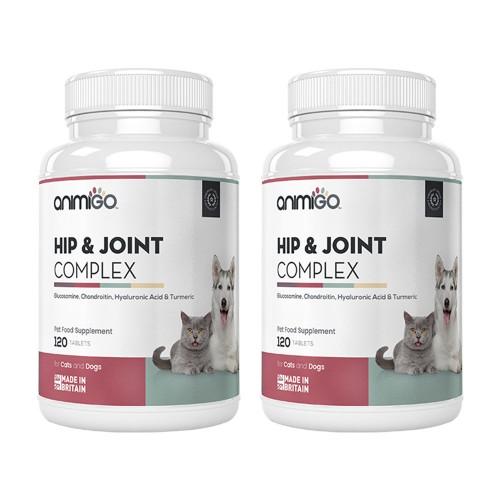 Hip Flex för hund - Naturligt Kosttillskott för Aktiv Hund - Animigo - 60 tuggtabletter - 2-pack
