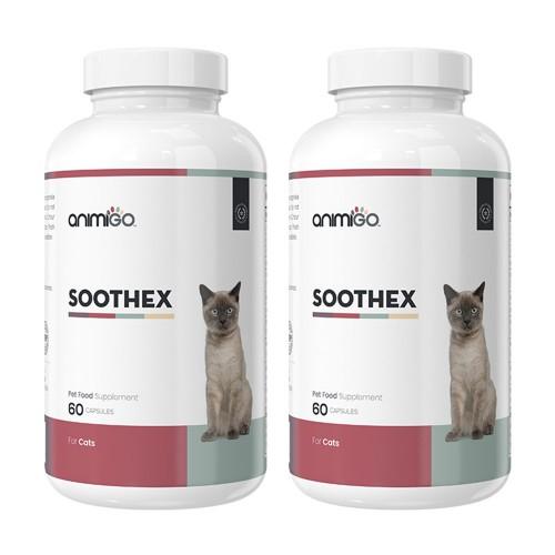 Soothex för Katt - Naturligt Lugnande Medel för Oroliga Katter - Animigo - 60 Kapslar - 2 Pack