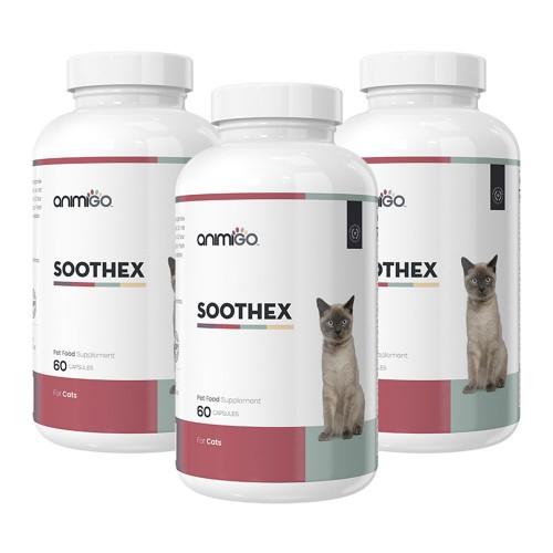 Soothex för Katt - Naturligt Lugnande Medel för Oroliga Katter - Animigo - 60 Kapslar - 3 Pack