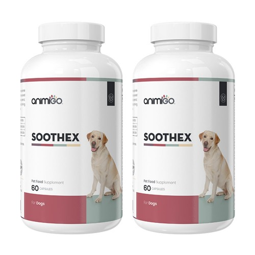 Soothex för Hund - Lugnande Tillskott för Stressade & Oroliga Hundar - Animigo - 60 Kapslar - 2 Pack