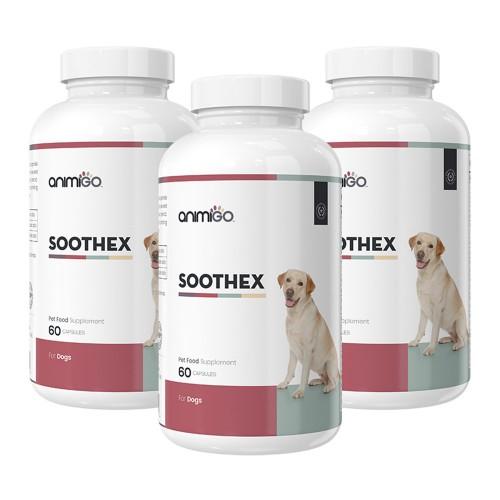 Soothex för Hund - Lugnande Tillskott för Stressade & Oroliga Hundar - Animigo - 60 Kapslar - 3 Pack