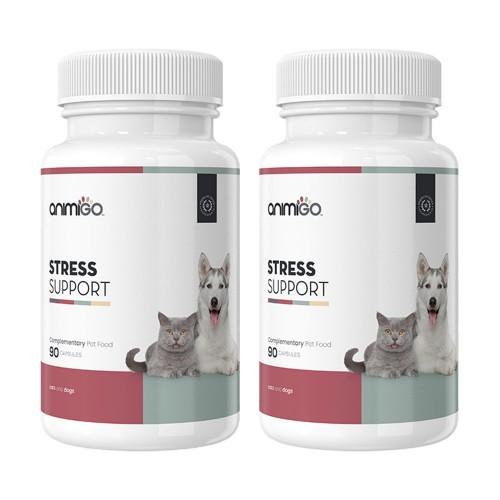 Stress Support - Naturligt Avslappnande Och Lugnande Kapslar för Hund och Katt - 90 Kapslar - 2 Pack