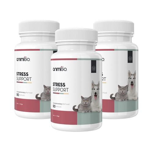 Stress Support - Naturligt Avslappnande Och Lugnande Kapslar för Hund och Katt - 90 Kapslar - 3 Pack