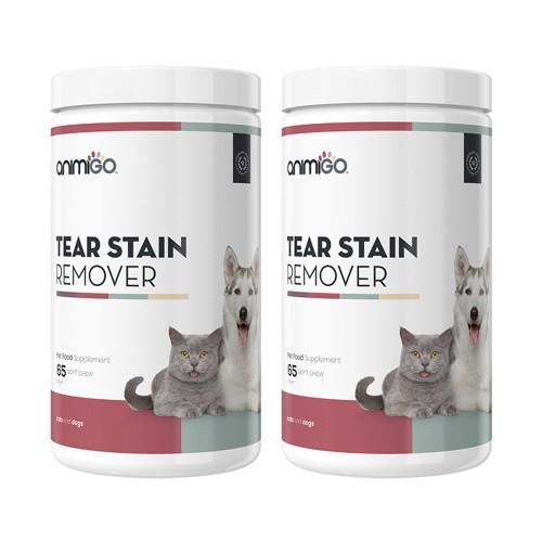 Tear Stain Remover Soft Chews - Naturligt tillskott för hundar och katter - 60 tuggtillskott - 2-pac